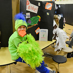 Justin Sheely | The Sheridan Press First-grader Colt Jolovich, as a parakeet, waits for a visitor during the Animal Wax Museum Wednesday at Woodland Park Elementary School. Each student pick ...