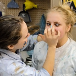 "Justin Sheely | The Sheridan Press Sheridan junior Sage Koltiska reacts as Katie Bammel smears paint on her nose during set construction Saturday morning for the upcoming play ""Bye Bye Bir ..."
