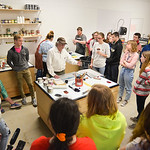 Justin Sheely | The Sheridan Press Renowned artist Theodore Waddell, center, leads a monotype printmaking workshop with local high school students Wednesday in the Whitney Center for the art ...