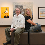 "Justin Sheely | The Sheridan Press Father and daughter artists Theodore Waddell and Arin Waddell pose for a portrait in their joint gallery ""Waddell + Waddell"" Wednesday in the Whitney C ..."