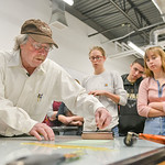 Justin Sheely | The Sheridan Press Renowned artist Theodore Waddell leads a monotype printmaking workshop with local high school students Wednesday in the Whitney Center for the arts at Sher ...