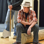 "Justin Sheely | The Sheridan Press Tongue River sophomore Wyatt Yeigh sits on a log during a rehearsal for ""The Great Tie Flume"" Tuesday at Tongue River High School. The play, written by ..."