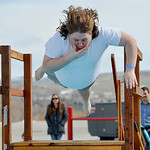 Justin Sheely | The Sheridan Press Dallas Feaster does a bellyflop during the annual Jackalope Jump Saturday at Goose Valley Fire Department. Special Olympics athletes, law enforcement agenc ...