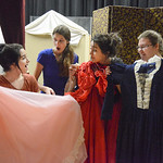 "Justin Sheely | The Sheridan Press Students, from left, Aliya Gauna, Macey McArthur, Corrim Lamere and Kayla Stimpson compare dresses during a rehearsal for ""The Great Tie Flume"" Tuesday ..."