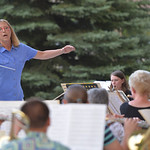 Justin Sheely | The Sheridan Press Diane Knutson conducts the community band during Concerts in the Park Tuesday evening at Kendrick Park. Concerts in the Park are held every Tuesday at 7:30 ...