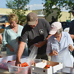 Shoppers pick up tomatoes from the Adams Family Concession during the Farmers Market Thursday on Grinnell Plaza.