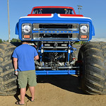 Justin Sheely | The Sheridan Press A monster truck fan checks out the Cyclops monster truck for the VIP pit stop event prior to the Mega Promotions Monster Truck show Saturday at the Sherida ...