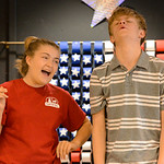 "Justin Sheely | The Sheridan Press Taylor Myers as Rita, left, draws Collin Dixon, as Vinnie, into her schemes during a rehearsal for ""Lucky Stiff"" Tuesday at the Sheridan Senior Center. ..."