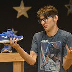 "Justin Sheely | The Sheridan Press Addison Dugal as Mr. Witherspoon vents his frustration about his life as a shoe salesperson during a rehearsal for ""Lucky Stiff"" Tuesday at the Sherida ..."