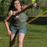 Justin Sheely | The Sheridan Press Kayla Trujillo plays badminton during the Summer Night at the Mansion Wednesday at the Trail End State Historic Site. The public was invited to picnic on t ...