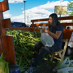 Justin Sheely | The Sheridan Press Erika Hernandez of Hardin, Montana, fills plastic bags with corn for shoppers during the Famers Market Thursday on Grinnell Plaza.