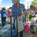 Justin Sheely | The Sheridan Press Maedean Reed stores her corn into a cooler during the Famers Market Thursday on Grinnell Plaza.