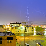 Justin Sheely | The Sheridan Press Lightning, wind and rain strike Sheridan as seen from the downtown area Wednesday night.
