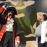 Justin Sheely | The Sheridan Press Captain Hook, by Daley Nissen expresses his disdain for Peter Pan with Smee, Pyper Tiffany, during a rehearsal Tuesday for the Tandem Productions presentat ...