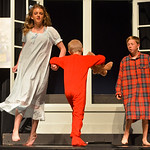 Justin Sheely | The Sheridan Press Rowan Heil, as Wendy, dances with her brothers John and Michael, by Reed McFadden and Brigham Dailey, as she shares stories before bedtime during a rehears ...