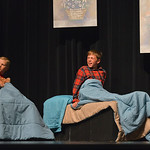 Justin Sheely | The Sheridan Press Michael and John, by Brigham Daily and Reed McFadden, wake up after they hear Peter Pan inside the nursery during a rehearsal Tuesday for the Tandem Produc ...