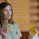"Justin Sheely | The Sheridan Press Sara Evans, Bighorn National Forest Service trail coordinator, gives her ""trash talk"" to a group of children during Tidbit Tuesday at the Sheridan Coun ..."