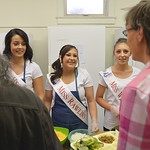 Justin Sheely | The Sheridan Press Miss Wyoming contestants, from left, Miss South Central Jordyn Hall, Miss Rawlins Jordan Zamora and Miss Wind River Jaquelynn Dahlstedt serve meals during  ...