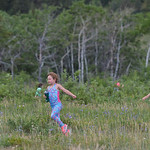 Justin Sheely | The Sheridan Press Stella Dalton, left, and Olive Knodel skip along the path during Science Kids' Earth Heroes program Thursday at the Red Grade Trail system near Big Horn. ...