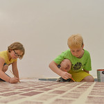 "Justin Sheely | The Sheridan Press Eight-year-old Fara Haynes, left, and Mason Smith, 10, paint a stage piece during a run through for the play ""Aristrocats"" during the YMCA Theater Camp ..."