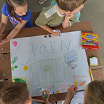 Justin Sheely | The Sheridan Press Children draw a flag representing Spain during Sheridan Olympics Kids Camp Tuesday at Marshall Park. The olympics-themed event was held for two days by the ...