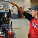 Justin Sheely | The Sheridan Press Dylan Scott, a junior high school student from Greybull, activates a hydraulic cylinder training system for testing engine cylinders during the Industrial  ...