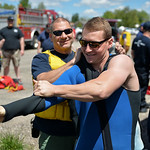 Justin Sheely | The Sheridan Press Sheridan Fire-Rescue Captain Greg Luhman helps Goose Valley volunteer firefighter Spencer Reid into a wetsuit during a swift water rescue training exercise ...