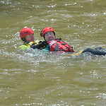 Justin Sheely | The Sheridan Press Goose Valley volunteer firefighters Justin Johnston, left, rescues Ben Weaver from the water during a swift water rescue training exercise Saturday on the  ...