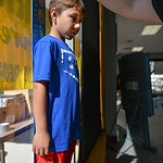 Justin Sheely | The Sheridan Press Seven-year-old Hesstan Ferber is measured by car seat techs during the Safe Kids Day Saturday at Sheridan Memorial Hospital's downtown location on Gould. ...