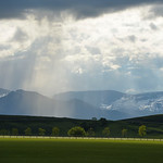 Justin Sheely | The Sheridan Press Rays of sunlight break through the clouds over the Bighorn Mountains Saturday at the Big Horn Equestrian Center.