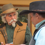 Justin Sheely | The Sheridan Press Leather artist Paul Krause of Arizona visits with Dan Schwarz of Montana in the showroom during the Rocky Mountain Leather Crafters Trade show Saturday at  ...