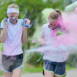 Justin Sheely | The Sheridan Press Twelve-year-olds Dulce Carroll, left, and Jenna Sweeny get plastered with color during the Sash Dash color run Saturday at Kendrick Park. The event benefit ...