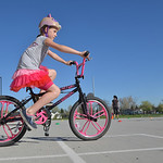 Justin Sheely | The Sheridan Press Fourth-grader Hope Townley weaves through the cones on her bike during the Safe Kids Bike Rodeo Wednesday at Coffeen Elementary School. Sheridan Memorial H ...
