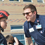 Justin Sheely | The Sheridan Press Tyler Crossley, with Sheridan Memorial Hospital, asks Peter Kaminsky to look up to check if he can see the front of his helmet for a safety check during th ...