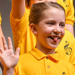 Justin Sheely | The Sheridan Press Children's Chorale member Naomi Andersen makes a face during the Sheridan County Youth and Children's Chorale Tuesday at the WYO Theater. This year's ...