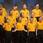 "Justin Sheely | The Sheridan Press Children's Chorale members sing during the Sheridan County Youth and Children's Chorale Tuesday at the WYO Theater. This year's theme, ""United We S ..."