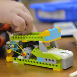 Justin Sheely | The Sheridan Press A student builds up a lego machine during an after school Lego Robotics class at Sagebrush Elementary School. The robotics class teaches the children codin ...