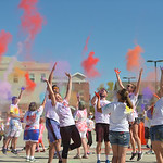 Justin Sheely | The Sheridan Press Participants toss color into the air at the start of the run during the 5th annual Combat Color Run Saturday at Sheridan College. The event was hosted by a ...