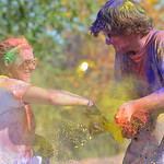Justin Sheely | The Sheridan Press McKenzi Wright, left, and Gunnar Swanson dump color on each other during the 5th annual Combat Color Run Saturday at Sheridan College. The event was hosted ...