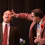 "Justin Sheely | The Sheridan Press Scott Bateman, as Henry Saunders, left, opens his mouth as AJ Longhurst, as Max, pops a pill during a rehearsal to the WYO Theater Gala ""Lend Me a Tenorâ ..."