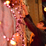 Justin Sheely | The Sheridan Press Sixteen-year-old Jade Hotchkin hangs up lights for the little kids' room during the Boy Scouts' annual Haunted House Tuesday night at the old Sheridan  ...