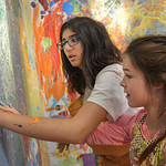 Justin Sheely | The Sheridan Press Sheridan Junior High School students Selina Kamran-Kohnjani, left, and Annabelle Davies pain during an abstract workshop Thursday in the Whitney Center for ...