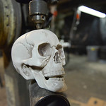 Justin Sheely | The Sheridan Press A plastic skull is seen in a press drill during the Boy Scouts' annual Haunted House Tuesday night at the old Sheridan Iron Works Building. The Boy Scout ...
