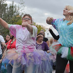 Justin Sheely | The Sheridan Press Students Dakota Hickman, left, and Desiree Fresorger dance in a flash mob during the final Third Thursday Street Festival on Main Street. The flash mob was ...