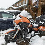 Justin Sheely | The Sheridan Press A motorbike collects snow at Bear Lodge Resort Saturday afternoon in the Bighorn National Forest. Heavy snow caused trees to bring down power lines leading ...