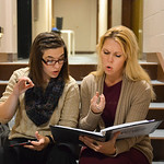 "Justin Sheely | The Sheridan Press Actors Stephanie Zukawski, left, and Erin Krantz practice notes from a musical score during a rehearsal for the upcoming gala performance ""Lend Me a Teno ..."
