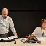 "Justin Sheely | The Sheridan Press Scott Bateman, left, and director Marva Craft read the script during a blocking rehearsal for the upcoming gala performance ""Lend Me a Tenor"" Thursday  ..."