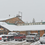 Justin Sheely | The Sheridan Press Snow falls at Bear Lodge Resort Saturday afternoon in the Bighorn National Forest. Heavy snow caused trees to bring down power lines leading to the popular ...
