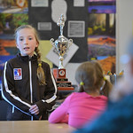 Justin Sheely | The Sheridan Press Meadowlark Elementary third-grader Ella Bilyeu shares with her classmates Tuesday morning about her experience in the regional Elks Hoop Shoot competition. ...