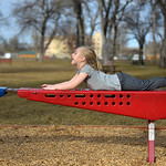 Justin Sheely | The Sheridan Press Six-year-old Sophia Harnish plays on the playground Wednesday at Kendrick Park. Sheridan residents enjoyed the extra hour of sunshine and a high temperatur ...